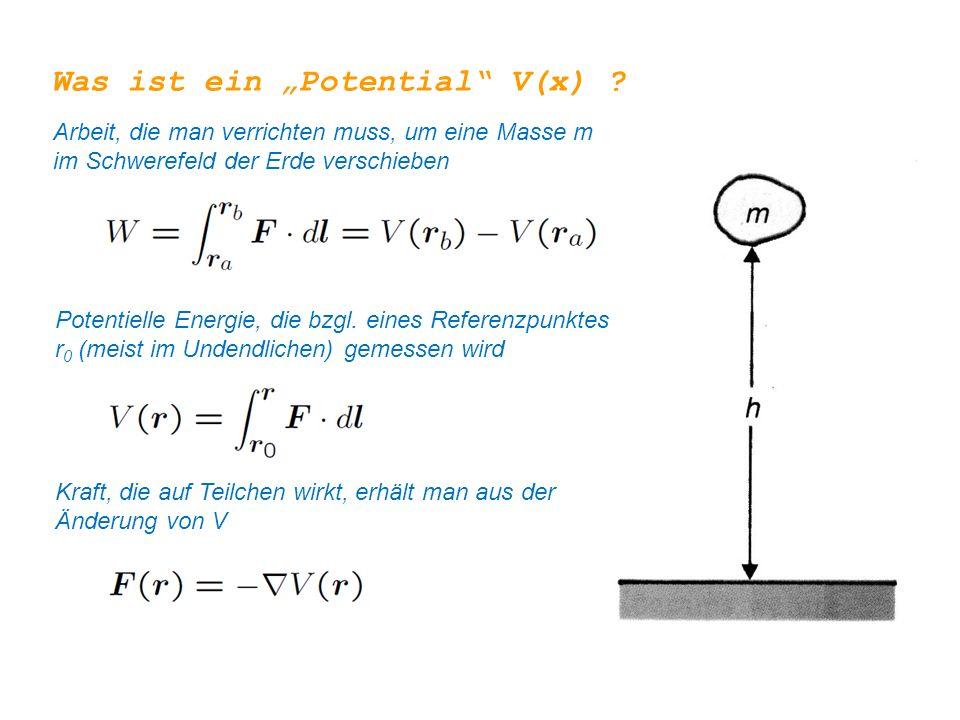 """Was ist ein """"Potential"""" V(x) ? Arbeit, die man verrichten muss, um eine Masse m im Schwerefeld der Erde verschieben Potentielle Energie, die bzgl. ein"""