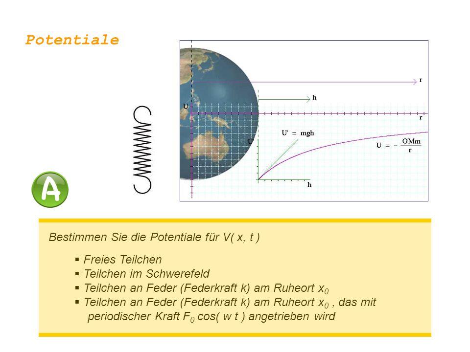 Bestimmen Sie die Potentiale für V( x, t )  Freies Teilchen  Teilchen im Schwerefeld  Teilchen an Feder (Federkraft k) am Ruheort x 0  Teilchen an Feder (Federkraft k) am Ruheort x 0, das mit periodischer Kraft F 0 cos( w t ) angetrieben wird Potentiale