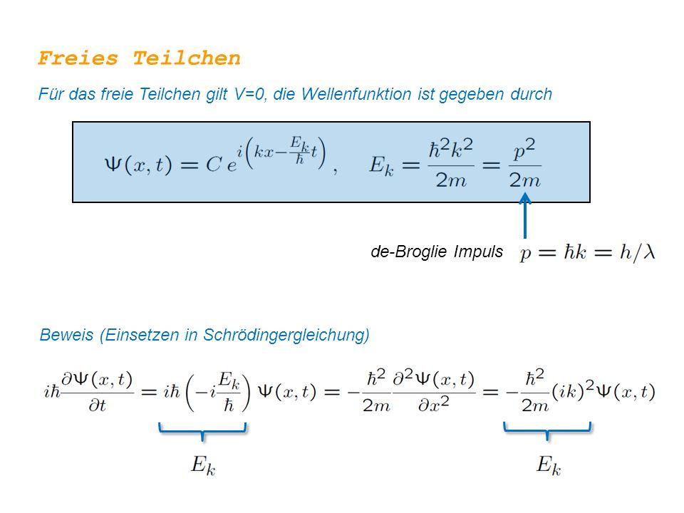 Freies Teilchen Für das freie Teilchen gilt V=0, die Wellenfunktion ist gegeben durch de-Broglie Impuls Beweis (Einsetzen in Schrödingergleichung)
