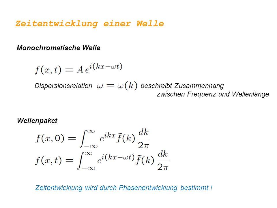 Dispersionsrelation beschreibt Zusammenhang zwischen Frequenz und Wellenlänge Zeitentwicklung einer Welle Monochromatische Welle Wellenpaket Zeitentwicklung wird durch Phasenentwicklung bestimmt !