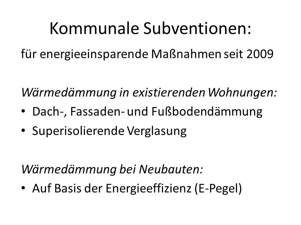 Kommunale Subventionen: für energieeinsparende Maßnahmen seit 2009 Wärmedämmung in existierenden Wohnungen: Dach-, Fassaden- und Fußbodendämmung Superisolierende Verglasung Wärmedämmung bei Neubauten: Auf Basis der Energieeffizienz (E-Pegel)