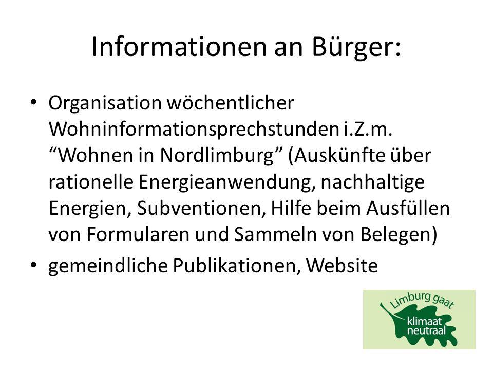 Informationen an Bürger: Organisation wöchentlicher Wohninformationsprechstunden i.Z.m.