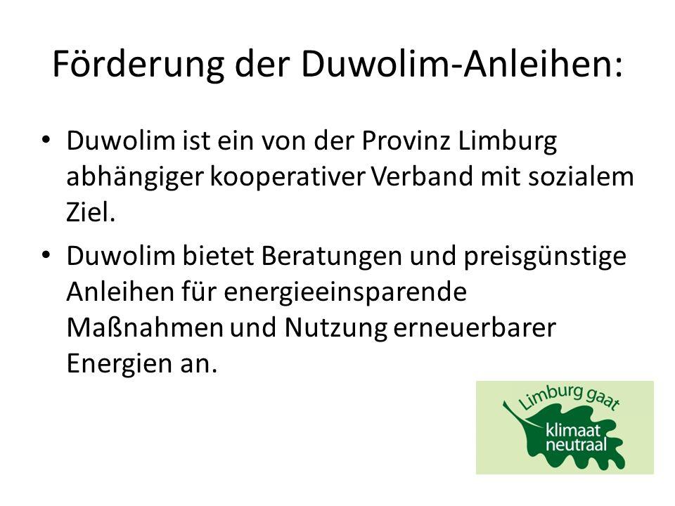 Förderung der Duwolim-Anleihen: Duwolim ist ein von der Provinz Limburg abhängiger kooperativer Verband mit sozialem Ziel.