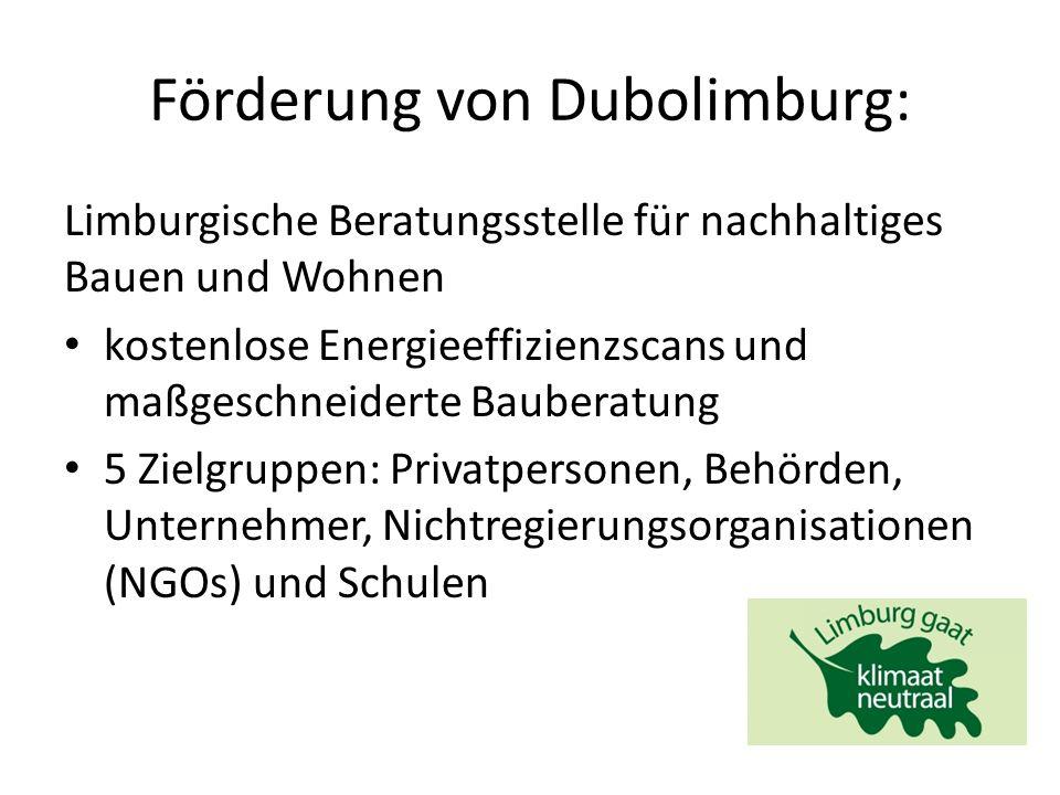 Förderung von Dubolimburg: Limburgische Beratungsstelle für nachhaltiges Bauen und Wohnen kostenlose Energieeffizienzscans und maßgeschneiderte Bauberatung 5 Zielgruppen: Privatpersonen, Behörden, Unternehmer, Nichtregierungsorganisationen (NGOs) und Schulen