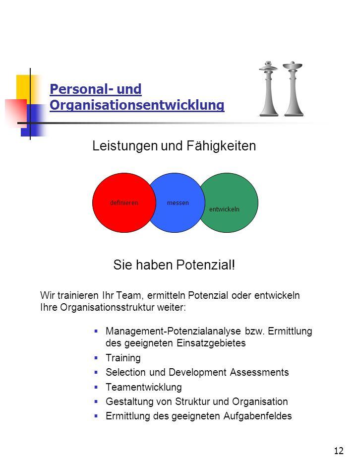12 Personal- und Organisationsentwicklung Leistungen und Fähigkeiten Sie haben Potenzial! Wir trainieren Ihr Team, ermitteln Potenzial oder entwickeln