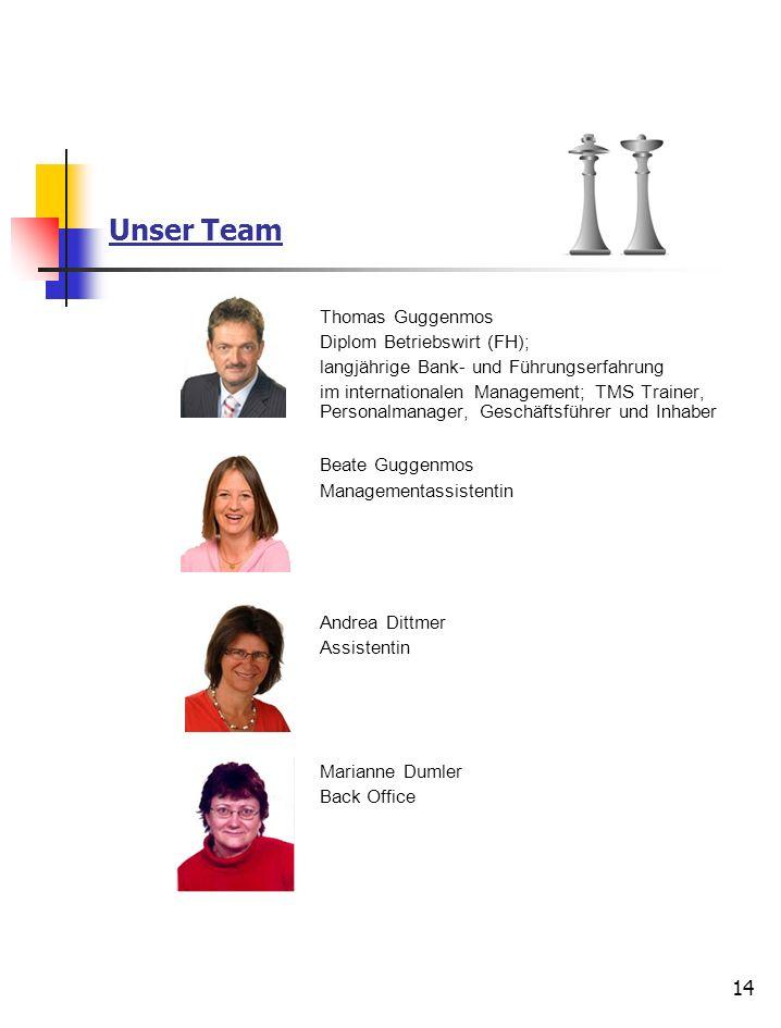 14 Unser Team Thomas Guggenmos Diplom Betriebswirt (FH); langjährige Bank- und Führungserfahrung im internationalen Management; TMS Trainer, Personalm