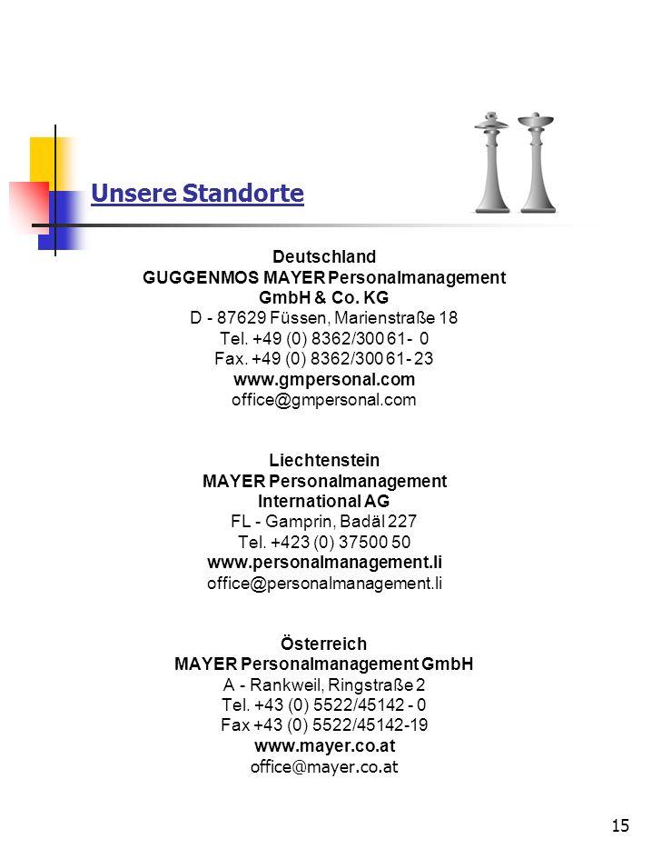 15 Unsere Standorte Deutschland GUGGENMOS MAYER Personalmanagement GmbH & Co. KG D - 87629 Füssen, Marienstraße 18 Tel. +49 (0) 8362/300 61- 0 Fax. +4
