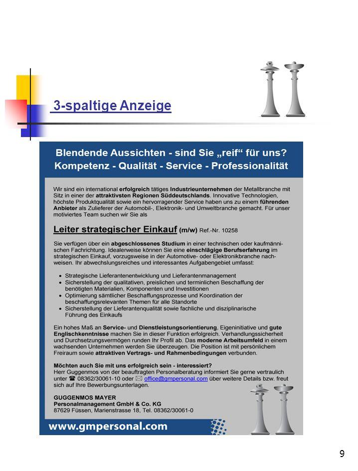 10 Job - Plattform Ihre Online-Anzeige auf www.gmpersonal.com Schöpfen Sie die Möglichkeiten des Internet - Recruitings optimal aus und machen so Top - Bewerber noch besser auf sich aufmerksam.
