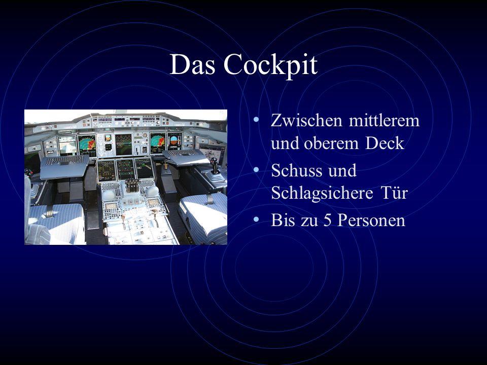 Das Cockpit Zwischen mittlerem und oberem Deck Schuss und Schlagsichere Tür Bis zu 5 Personen