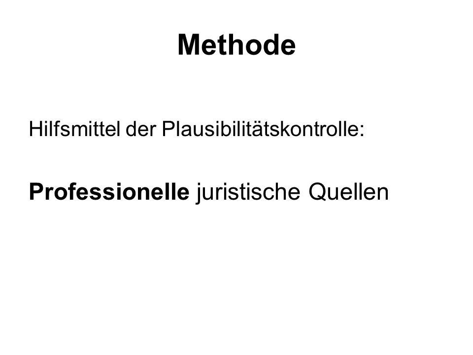 Methode Hilfsmittel der Plausibilitätskontrolle: Professionelle juristische Quellen