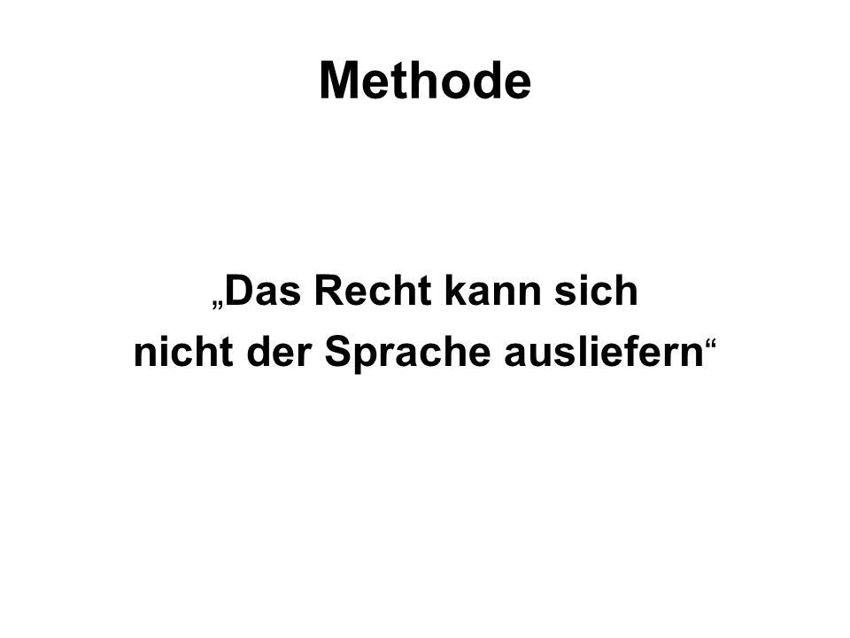 """Methode """" Das Recht kann sich nicht der Sprache ausliefern"""