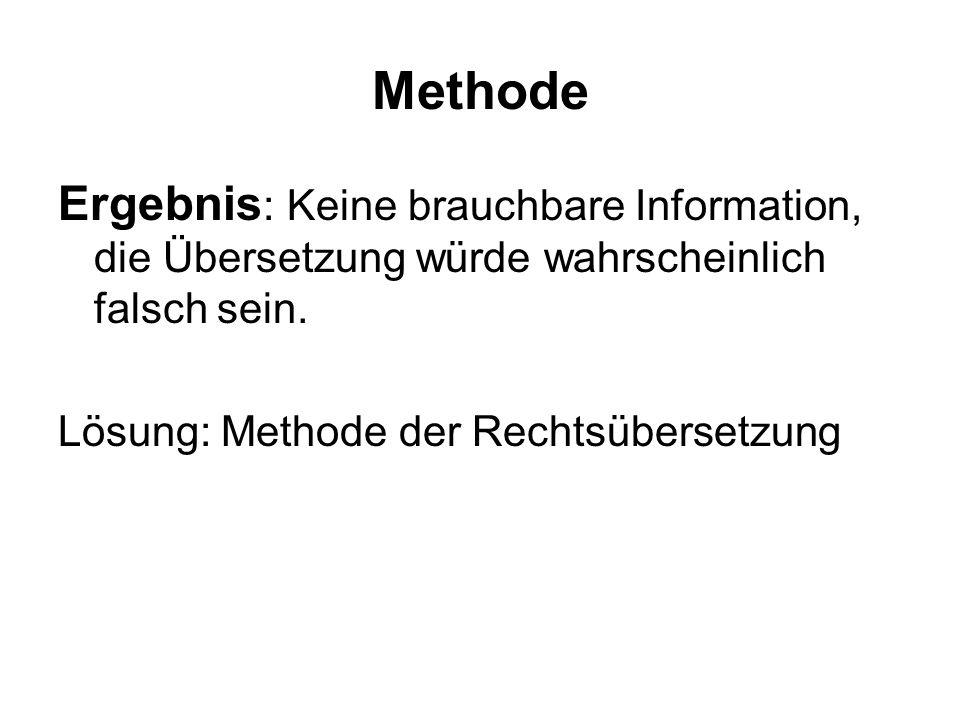 Methode Ergebnis : Keine brauchbare Information, die Übersetzung würde wahrscheinlich falsch sein.