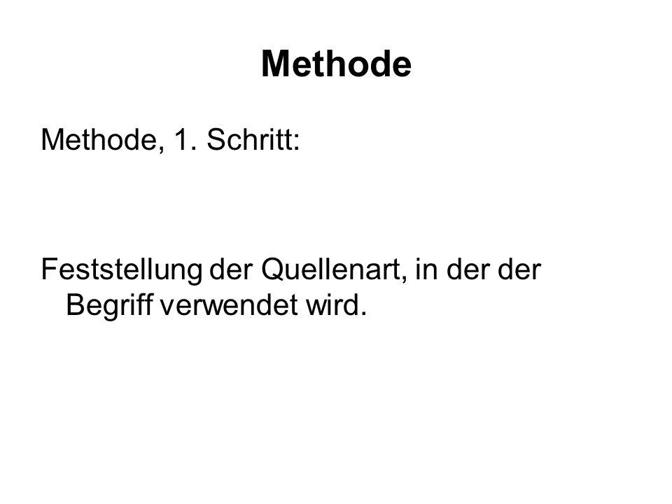 Methode Methode, 1. Schritt: Feststellung der Quellenart, in der der Begriff verwendet wird.