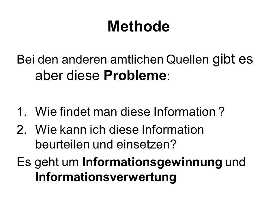 Methode Bei den anderen amtlichen Quellen gibt es aber diese Probleme : 1.Wie findet man diese Information .