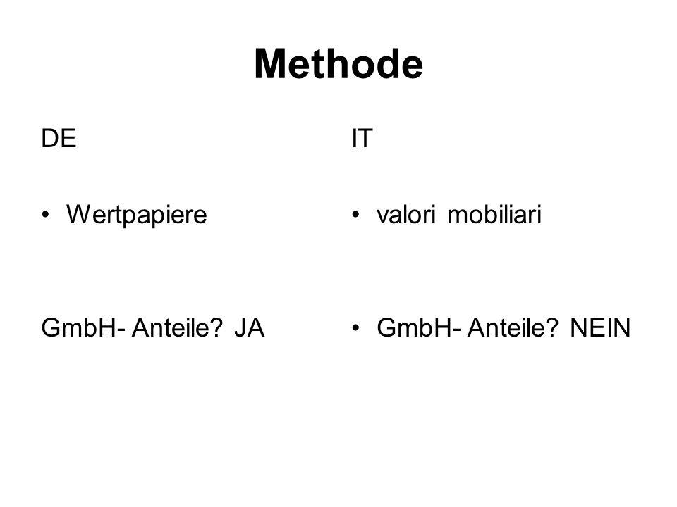 Methode DE Wertpapiere GmbH- Anteile JA IT valori mobiliari GmbH- Anteile NEIN