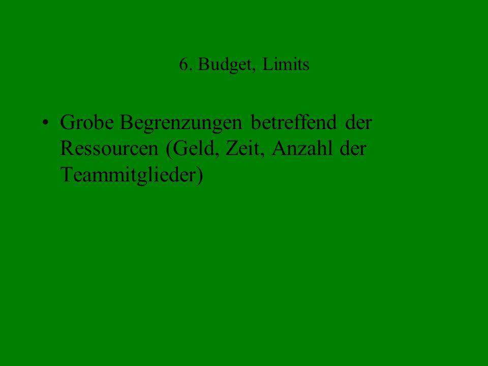 6. Budget, Limits Grobe Begrenzungen betreffend der Ressourcen (Geld, Zeit, Anzahl der Teammitglieder)