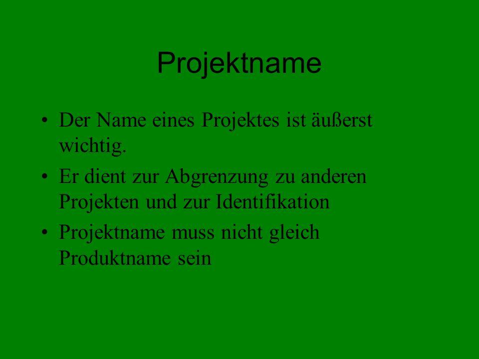 Projektname Der Name eines Projektes ist äußerst wichtig. Er dient zur Abgrenzung zu anderen Projekten und zur Identifikation Projektname muss nicht g