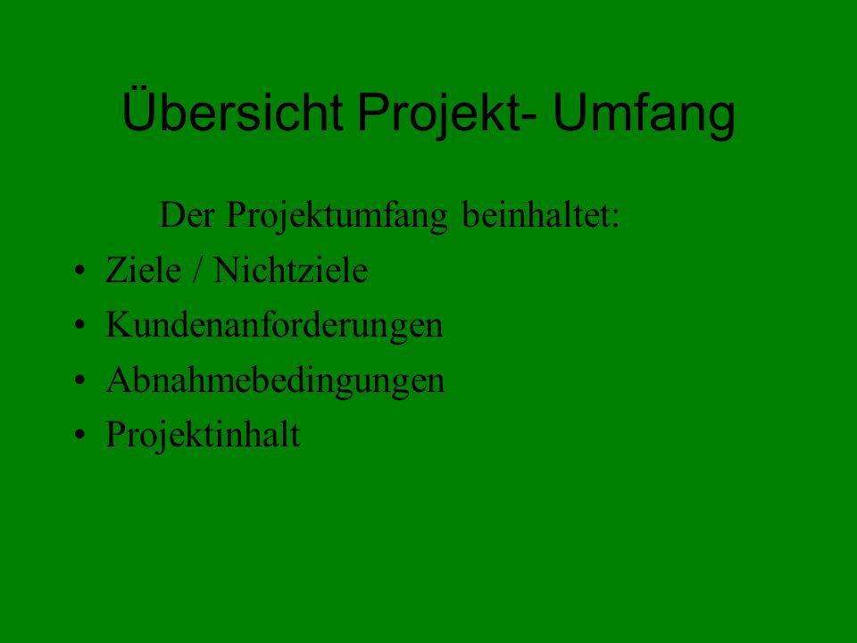 Übersicht Projekt- Umfang Der Projektumfang beinhaltet: Ziele / Nichtziele Kundenanforderungen Abnahmebedingungen Projektinhalt