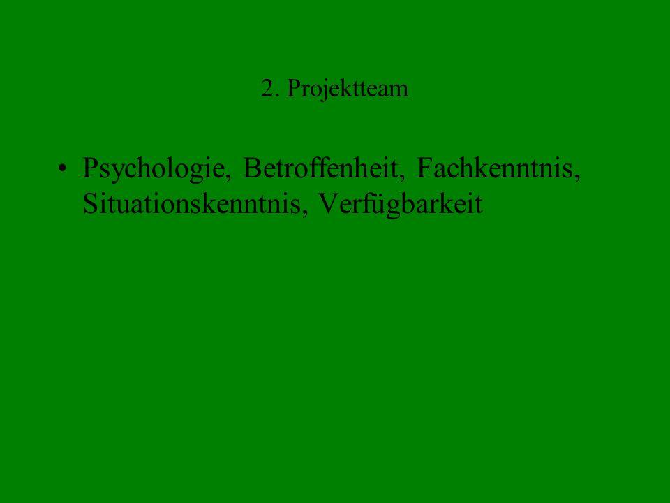 2. Projektteam Psychologie, Betroffenheit, Fachkenntnis, Situationskenntnis, Verfügbarkeit