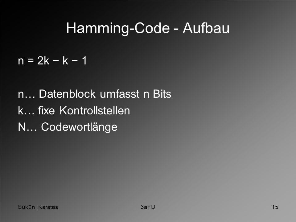 Sükün_Karatas3aFD15 Hamming-Code - Aufbau n = 2k − k − 1 n… Datenblock umfasst n Bits k… fixe Kontrollstellen N… Codewortlänge