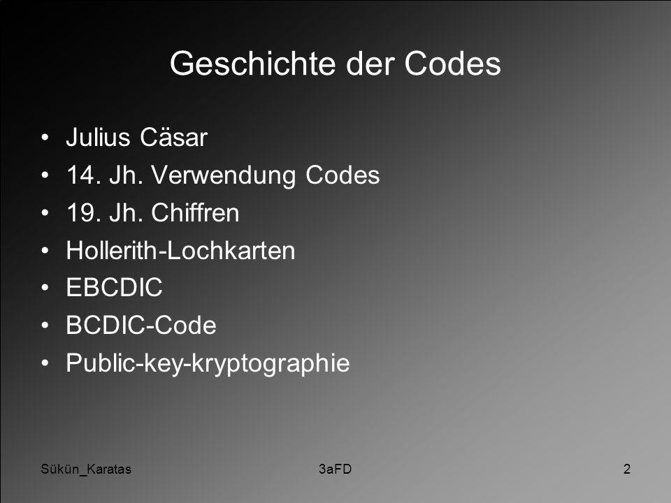 Sükün_Karatas3aFD2 Geschichte der Codes Julius Cäsar 14. Jh. Verwendung Codes 19. Jh. Chiffren Hollerith-Lochkarten EBCDIC BCDIC-Code Public-key-krypt