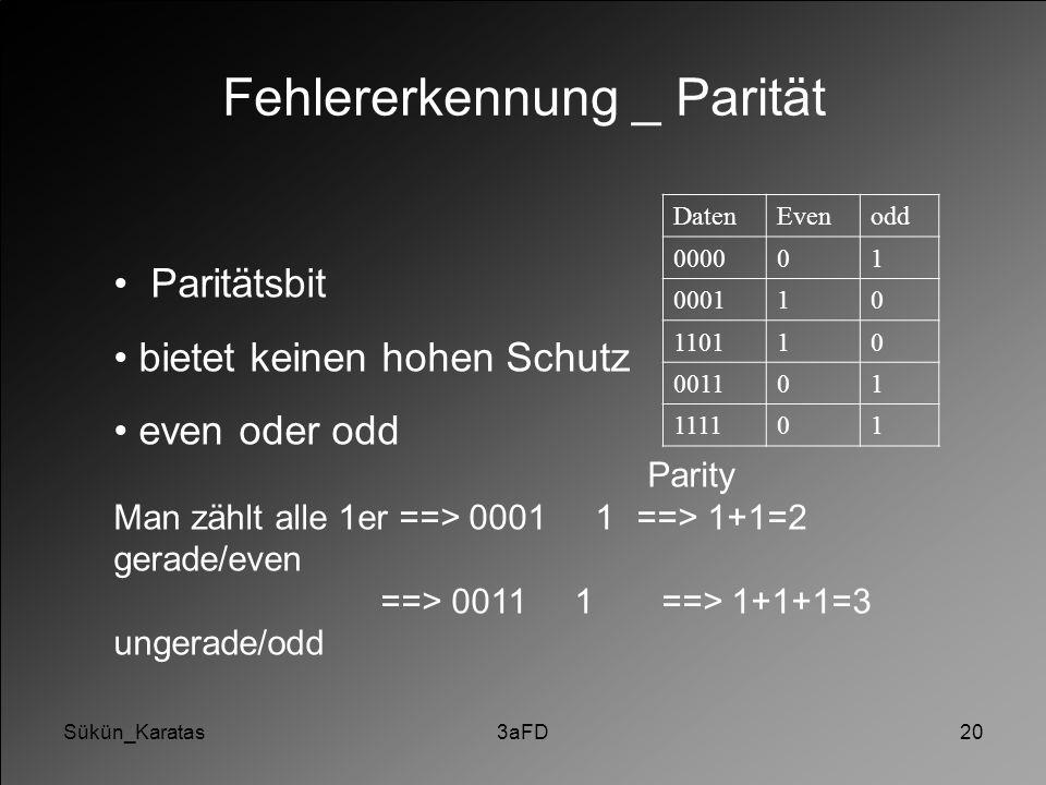 Sükün_Karatas3aFD20 Fehlererkennung _ Parität Paritätsbit bietet keinen hohen Schutz even oder odd Parity Man zählt alle 1er ==> 0001 1==> 1+1=2 gerad
