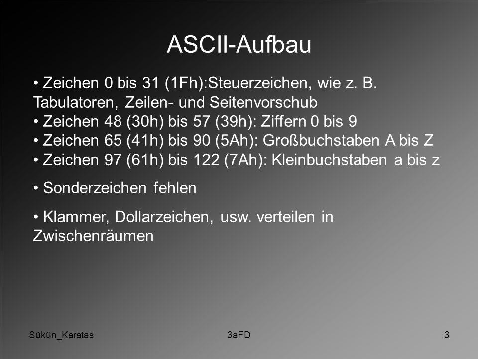 Sükün_Karatas3aFD3 ASCII-Aufbau Zeichen 0 bis 31 (1Fh):Steuerzeichen, wie z. B. Tabulatoren, Zeilen- und Seitenvorschub Zeichen 48 (30h) bis 57 (39h):