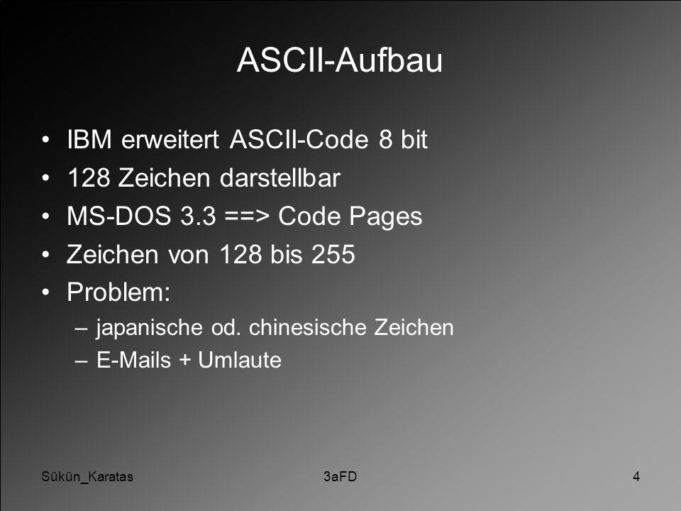 Sükün_Karatas3aFD4 ASCII-Aufbau IBM erweitert ASCII-Code 8 bit 128 Zeichen darstellbar MS-DOS 3.3 ==> Code Pages Zeichen von 128 bis 255 Problem: –jap