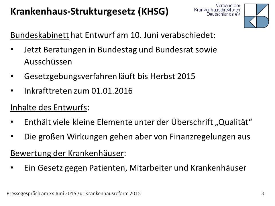 Pressegespräch am xx Juni 2015 zur Krankenhausreform 2015 3 Krankenhaus-Strukturgesetz (KHSG) Bundeskabinett hat Entwurf am 10. Juni verabschiedet: Je
