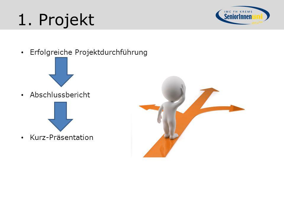 Erfolgreiche Projektdurchführung Abschlussbericht Kurz-Präsentation 1. Projekt