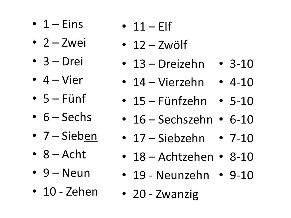 11 – Elf 12 – Zwölf 13 – 14 – Vierzehn 15 – Fünfzehn 16 – 17 – Siebzehn 18 – 19 - Neunzehn 20 - 1 – Eins 2 – Zwei 3 – Drei 4 – Vier 5 – Fünf 6 – Sechs 7 – Sieben 8 – Acht 9 – Neun 10 - Zehen 3-10 4-10 5-10 6-10 7-10 8-10 9-10