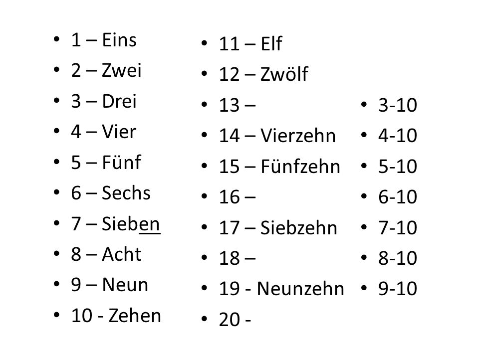 11 – 12 – 13 – 14 – Vierzehn 15 – 16 – 17 – Siebzehn 18 – 19 - 20 - 1 – Eins 2 – Zwei 3 – Drei 4 – Vier 5 – Fünf 6 – Sechs 7 – Sieben 8 – Acht 9 – Neun 10 - Zehen 3-10 4-10 5-10 6-10 7-10 8-10 9-10