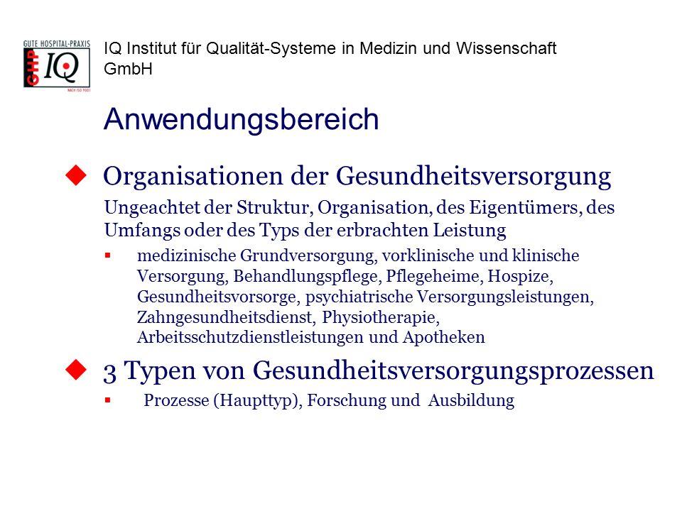 IQ Institut für Qualität-Systeme in Medizin und Wissenschaft GmbH  Organisationen der Gesundheitsversorgung Ungeachtet der Struktur, Organisation, de