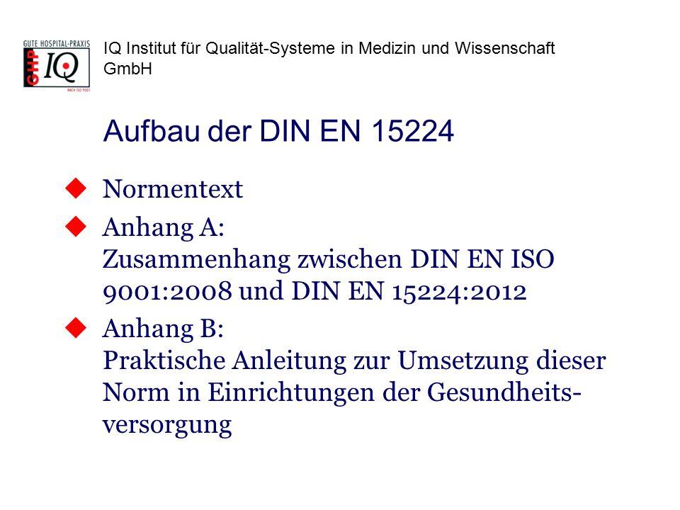 IQ Institut für Qualität-Systeme in Medizin und Wissenschaft GmbH Aufbau der DIN EN 15224  Normentext  Anhang A: Zusammenhang zwischen DIN EN ISO 9001:2008 und DIN EN 15224:2012  Anhang B: Praktische Anleitung zur Umsetzung dieser Norm in Einrichtungen der Gesundheits- versorgung