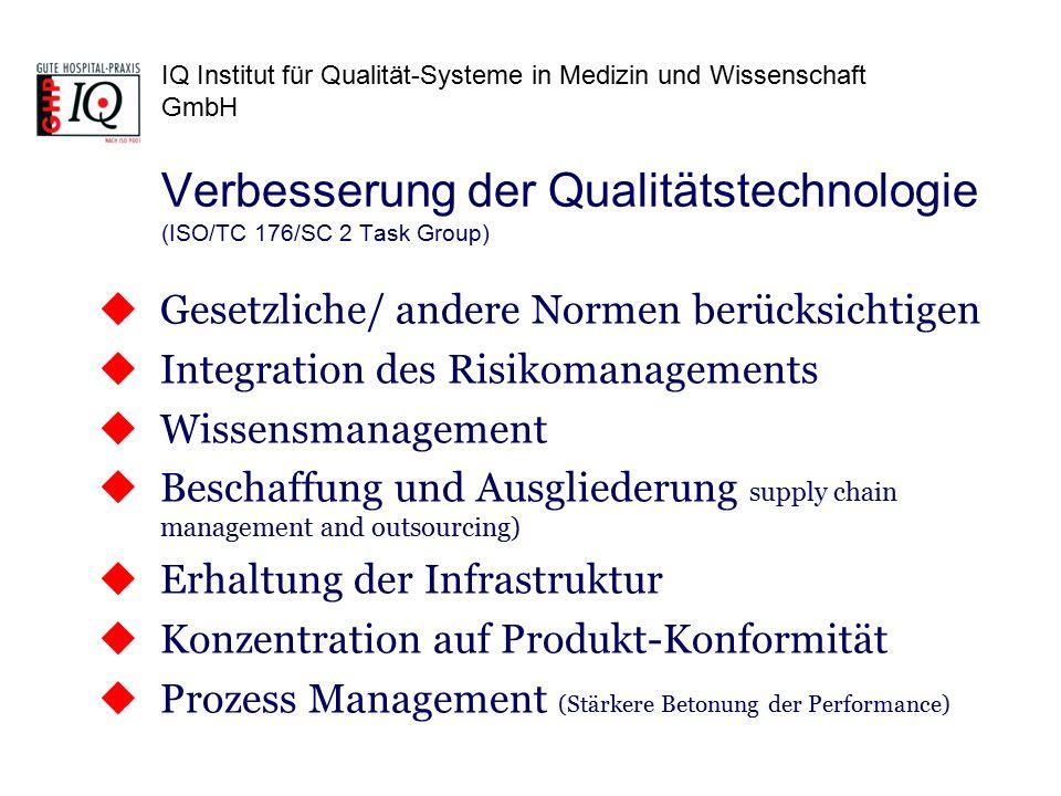 IQ Institut für Qualität-Systeme in Medizin und Wissenschaft GmbH  Gesetzliche/ andere Normen berücksichtigen  Integration des Risikomanagements  W