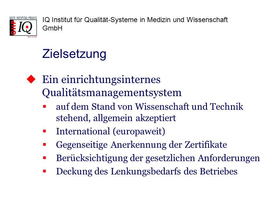IQ Institut für Qualität-Systeme in Medizin und Wissenschaft GmbH  Ein einrichtungsinternes Qualitätsmanagementsystem  auf dem Stand von Wissenschaft und Technik stehend, allgemein akzeptiert  International (europaweit)  Gegenseitige Anerkennung der Zertifikate  Berücksichtigung der gesetzlichen Anforderungen  Deckung des Lenkungsbedarfs des Betriebes Zielsetzung