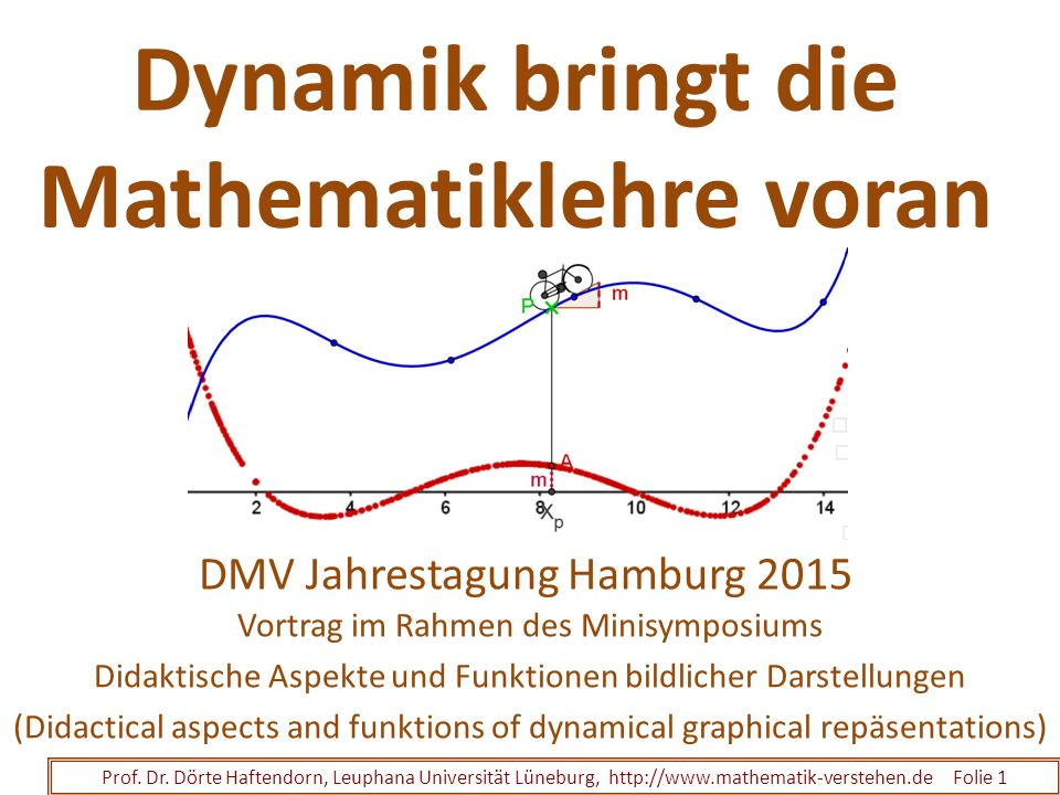Dynamik bringt die Mathematiklehre voran Vortrag im Rahmen des Minisymposiums Didaktische Aspekte und Funktionen bildlicher Darstellungen (Didactical aspects and funktions of dynamical graphical repäsentations) Prof.