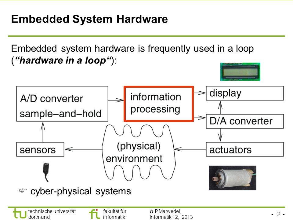 - 2 - technische universität dortmund fakultät für informatik  P.Marwedel, Informatik 12, 2013 TU Dortmund Embedded System Hardware Embedded system h
