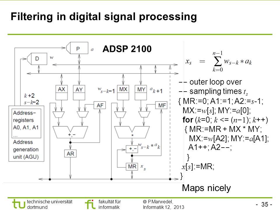 - 35 - technische universität dortmund fakultät für informatik  P.Marwedel, Informatik 12, 2013 TU Dortmund Filtering in digital signal processing --