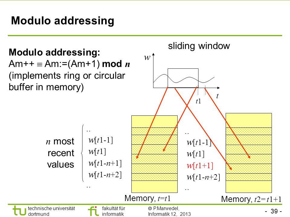 - 39 - technische universität dortmund fakultät für informatik  P.Marwedel, Informatik 12, 2013 TU Dortmund Modulo addressing Modulo addressing: Am++