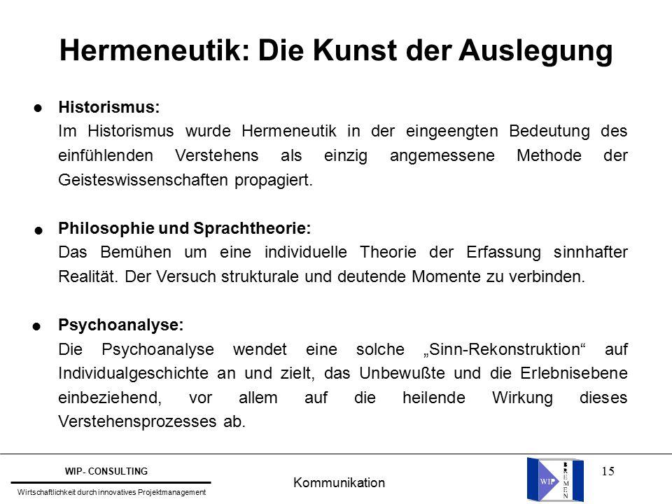 15 Hermeneutik: Die Kunst der Auslegung Historismus: Im Historismus wurde Hermeneutik in der eingeengten Bedeutung des einfühlenden Verstehens als einzig angemessene Methode der Geisteswissenschaften propagiert.
