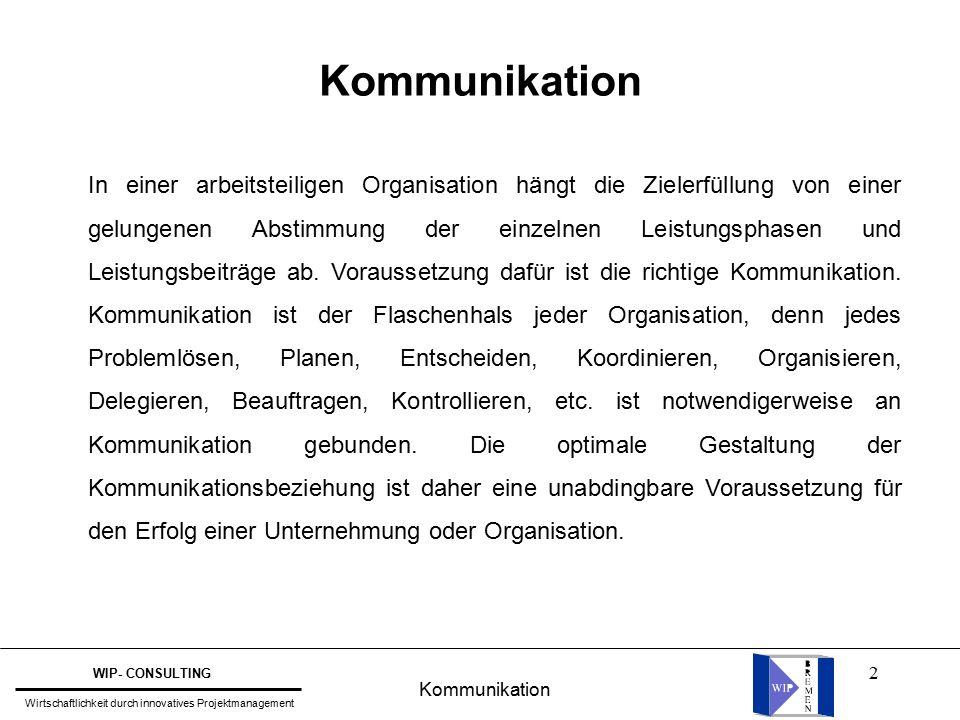 2 Kommunikation In einer arbeitsteiligen Organisation hängt die Zielerfüllung von einer gelungenen Abstimmung der einzelnen Leistungsphasen und Leistungsbeiträge ab.