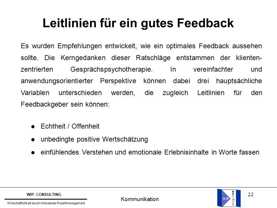 22 Leitlinien für ein gutes Feedback Es wurden Empfehlungen entwickelt, wie ein optimales Feedback aussehen sollte.
