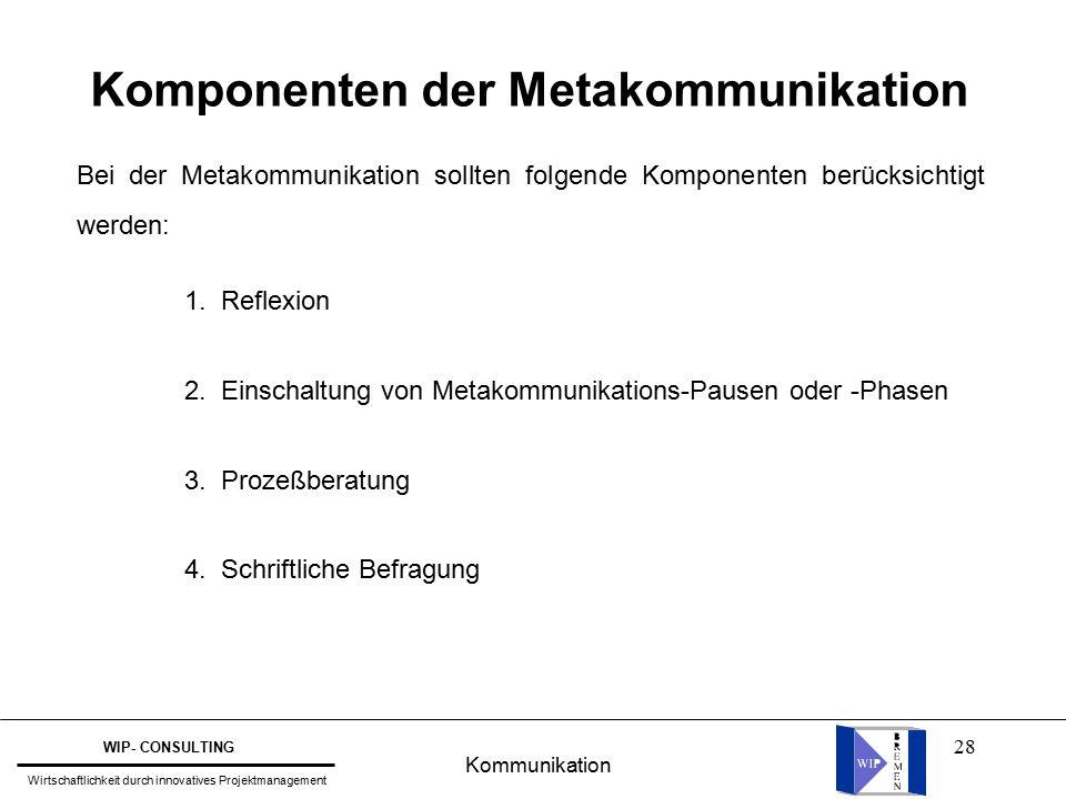 28 Komponenten der Metakommunikation Bei der Metakommunikation sollten folgende Komponenten berücksichtigt werden: 1.