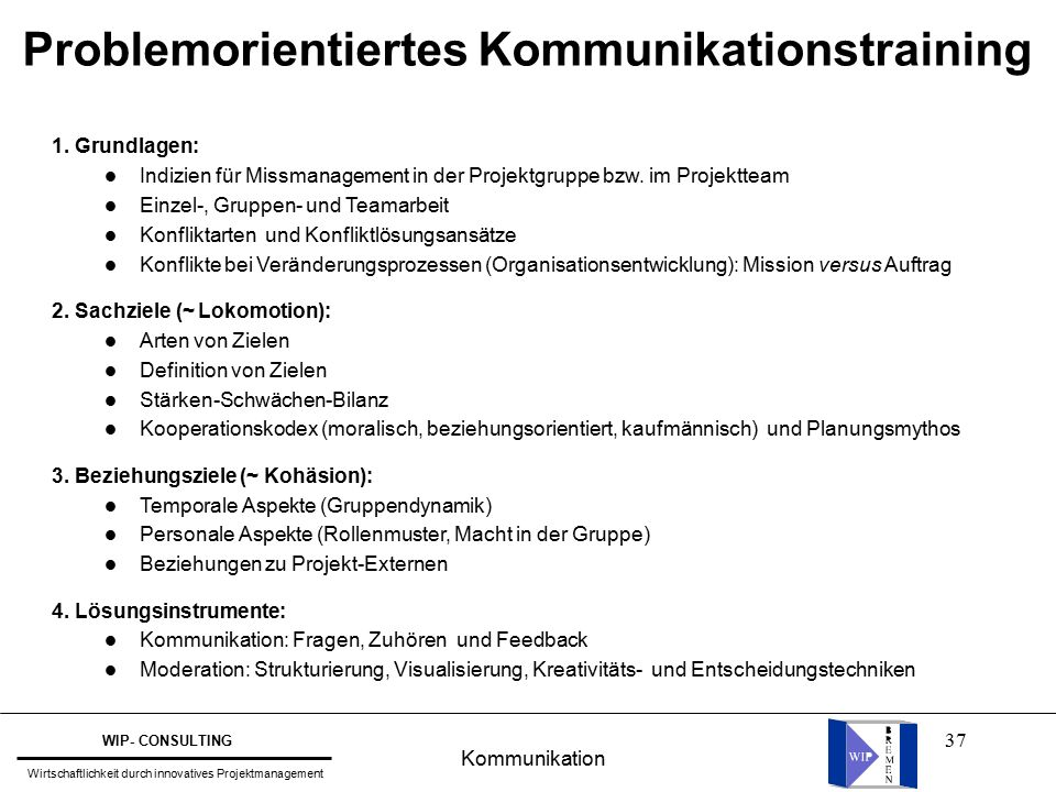 37 1.Grundlagen: l Indizien für Missmanagement in der Projektgruppe bzw.