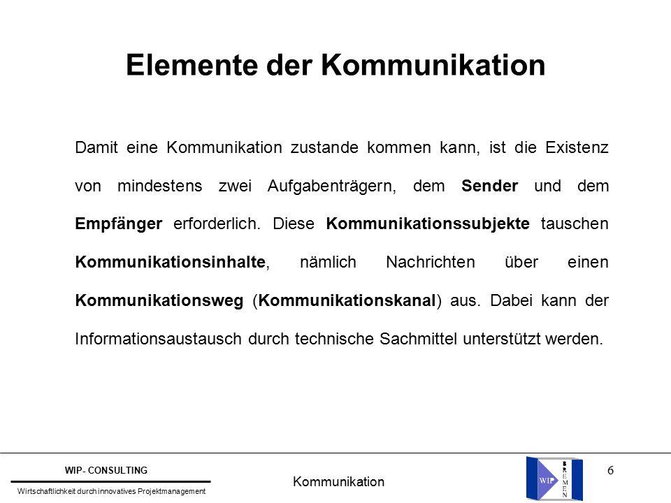 6 Elemente der Kommunikation Damit eine Kommunikation zustande kommen kann, ist die Existenz von mindestens zwei Aufgabenträgern, dem Sender und dem Empfänger erforderlich.