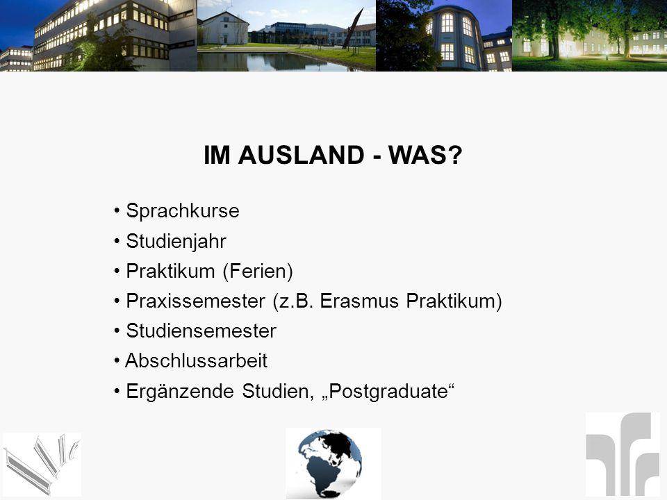 IM AUSLAND - WAS? Sprachkurse Studienjahr Praktikum (Ferien) Praxissemester (z.B. Erasmus Praktikum) Studiensemester Abschlussarbeit Ergänzende Studie