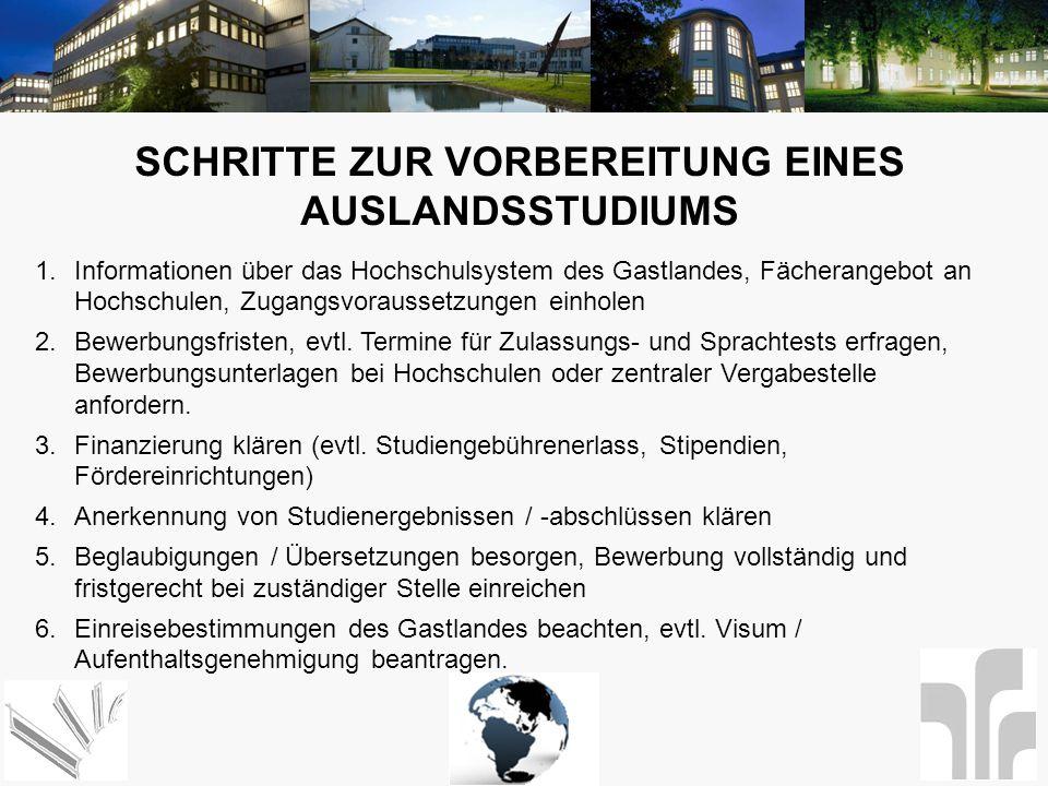 SCHRITTE ZUR VORBEREITUNG EINES AUSLANDSSTUDIUMS 1.Informationen über das Hochschulsystem des Gastlandes, Fächerangebot an Hochschulen, Zugangsvorauss