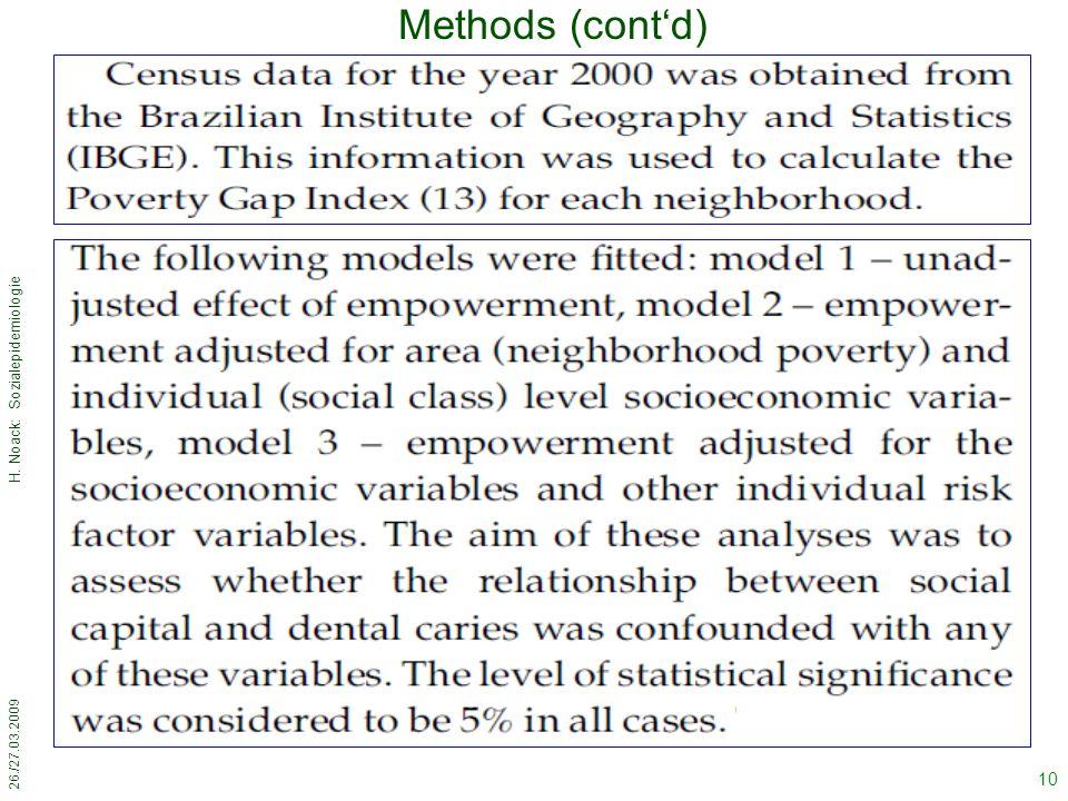 26./27.03.2009 H. Noack: Sozialepidemiologie 10 Methods (cont'd)