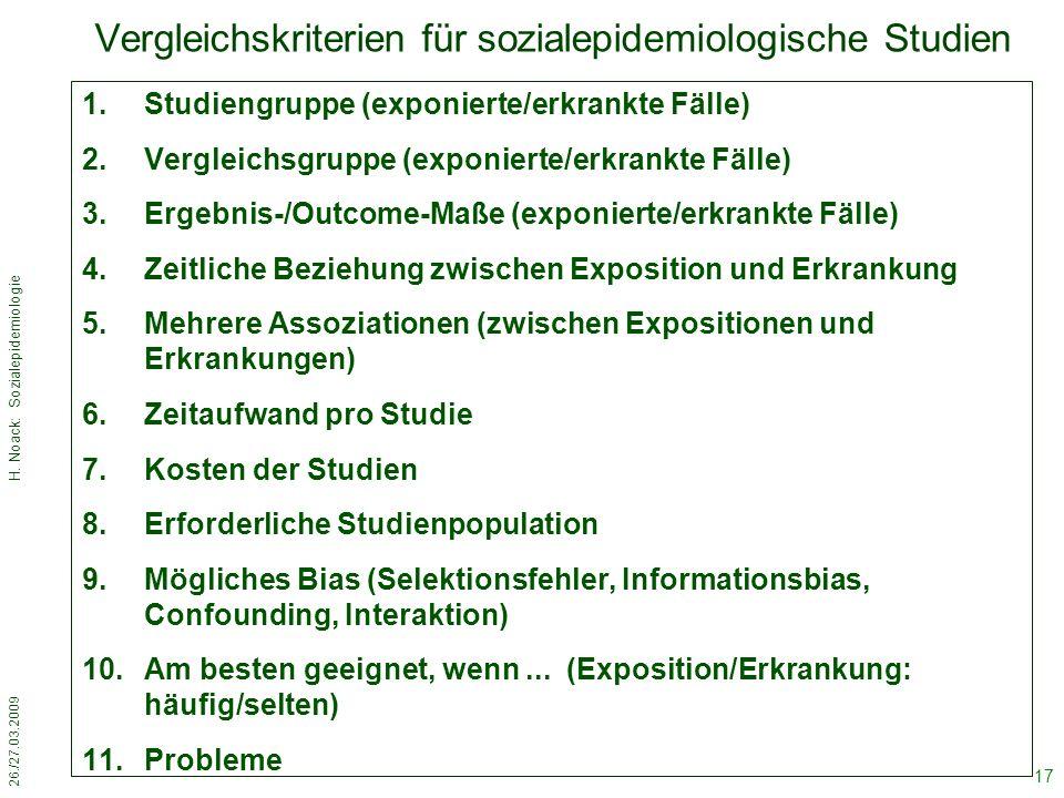 26./27.03.2009 H. Noack: Sozialepidemiologie 17 Vergleichskriterien für sozialepidemiologische Studien 1.Studiengruppe (exponierte/erkrankte Fälle) 2.